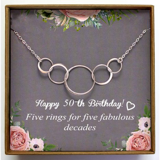 50th Birthday BTD01 site 542x542 - 50th Birthday Gifts for Women,  Five Circle Necklace for Her - BTD01