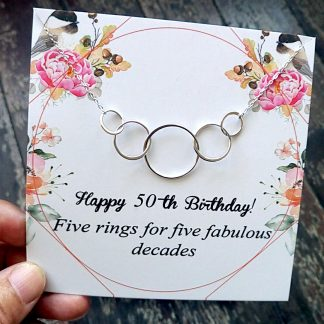 BTD02 Site 324x324 - 50th Birthday Gifts for Women,  Five Circle Necklace for Her - BTD02