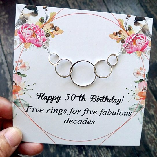 BTD02 Site 542x542 - 50th Birthday Gifts for Women,  Five Circle Necklace for Her - BTD02