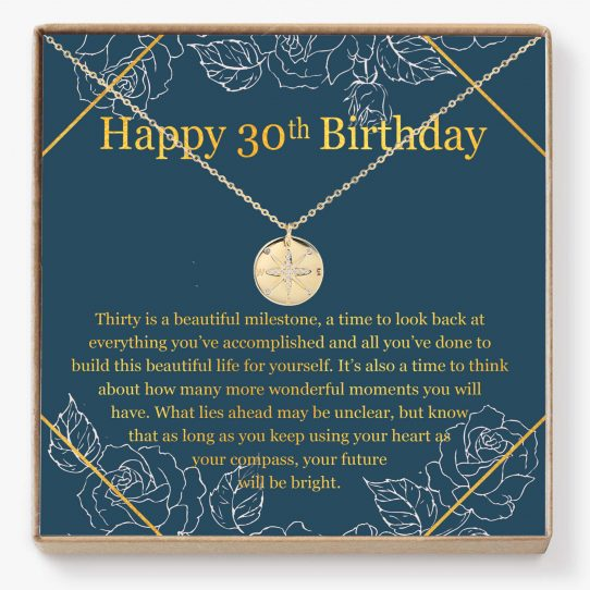 30TH 01 Site 542x542 - 30th Birthday Compass Necklace - Perfect gift for your best friend, sister, niece, cousin, and more on her 30th birthday, Compass - 30TH-01