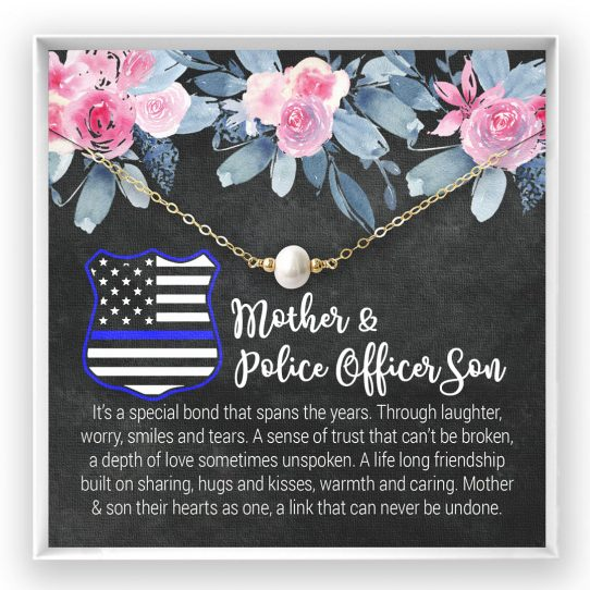 Site 1 542x542 - Christmas Gift for Mom: Mother and Son Necklace, Mother's Day Gift, Gift from Police Officer Son, Pearl Necklace, Gold Fill - POS01